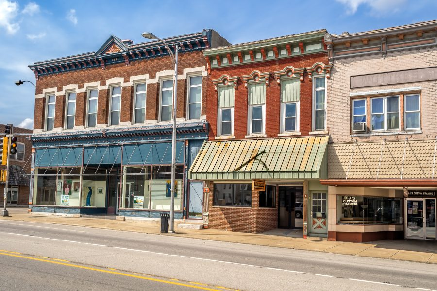 Ornate downtown storefronts in small town in the Midwest