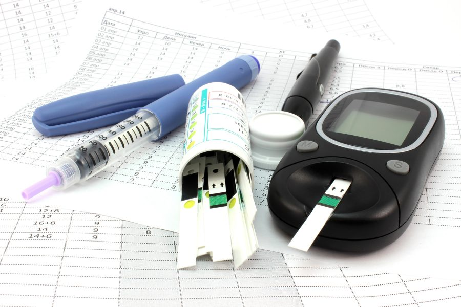 The glucometer, test strips, insulin against the backdrop of record results