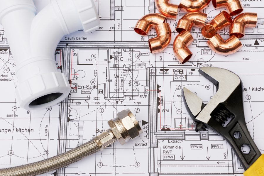 Plumbing Components Arranged On House Plans